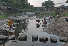 Panic For Water. Once a river have  become  canal due to continuous changing  the geomorphic features. Due to occupy the land Jharia people turn to refugee Stock Photos