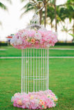 Panicle of flowers decorations during outdoor wedding ceremony Stock Image