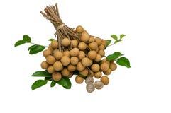 Panicle freshness longans. On white background Stock Image