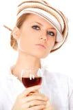 panie pić wino Zdjęcia Royalty Free