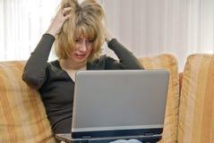 Paniek op laptop Royalty-vrije Stock Fotografie