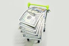 Panier à provisions avec des billets de banque du dollar, factures d'isolement sur le fond blanc Photographie stock libre de droits
