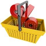 Panier à provisions avec le symbole de pourcentage Photo stock