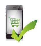 Panier à provisions en ligne à un téléphone portable illustration libre de droits
