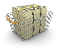 Panier à provisions et pile des dollars (chemin de coupure inclus) Photo stock