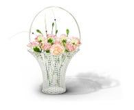 Panier avec de belles fleurs Photographie stock