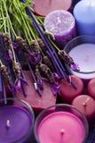Panier avec des bougies Photographie stock