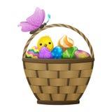 Panier avec des oeufs de pâques, Chiken et papillon Images libres de droits