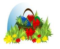 Panier avec des oeufs de pâques, vecteur de cdr Illustration de Vecteur