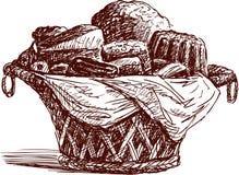 Panier avec des pâtisseries illustration de vecteur