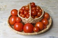 Panier avec des tomates image stock