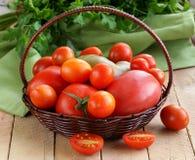 Panier avec différents types de tomates Photos libres de droits