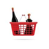 Panier avec la bouteille du vecteur de vin Images libres de droits