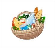 Panier avec la nourriture Image stock