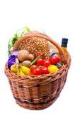Panier avec la nourriture d'épiceries Images libres de droits