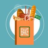 Panier avec le cuisinier de pâtisserie frais de boulangerie Food illustration de vecteur