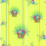 Panier avec le jaune de fleurs Photos stock