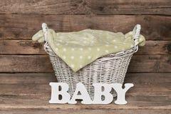 Panier avec le lettrage de bébé Photographie stock