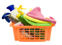Panier avec le nettoyage Image stock