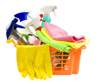 Panier avec le nettoyage Photo stock