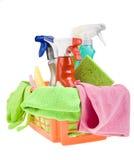 Panier avec le nettoyage Photos stock