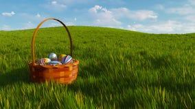 Panier avec les oeufs de pâques colorés parmi l'herbe verte illustration de vecteur