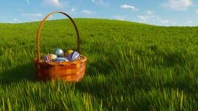 Panier avec les oeufs de pâques teints parmi le plan rapproché d'herbe illustration de vecteur