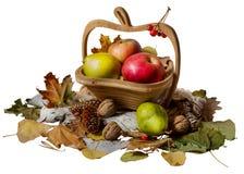 Panier avec les pommes et la poire sur le fond blanc Photos stock