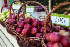 Panier avec les pommes rouges Image libre de droits