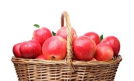 Panier avec les pommes rouges Photos stock