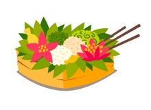 Panier cérémonieux traditionnel avec le fruit et la nourriture Illustration de vecteur illustration libre de droits