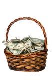 Panier complètement d'argent comptant Photo stock