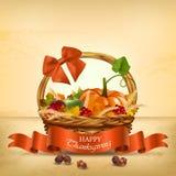 Panier d'Autumn Happy Thanksgiving Vecteur illustration libre de droits