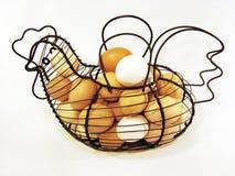 Panier d'oeufs de poulet Photographie stock