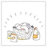 Panier de blanchisserie, détergents, illustration de vecteur Image stock