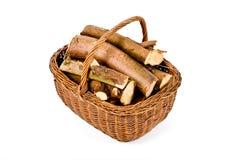 Panier de bois de chauffage Photographie stock libre de droits