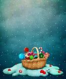 Panier de cadeau de Noël Photos libres de droits