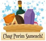 Panier de fête de Purim avec les casse-croûte, la bouteille de vin et le rouleau de salutation, illustration de vecteur illustration stock