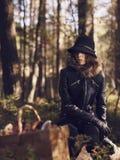 Panier de femme et de champignon Image libre de droits