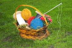 Panier de fleur avec l'amorçage pour le tricotage Photographie stock libre de droits