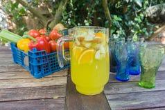 Panier de fruit avec la cruche de courge orange Photo libre de droits