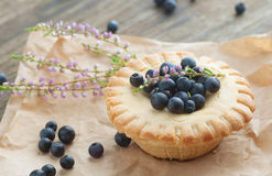 Panier de gâteau avec des myrtilles, foyer sélectif Photographie stock