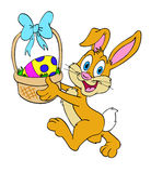 Panier de lapin de Pâques Photo stock