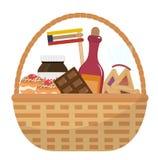 Panier de manot de Mishloach avec des festins de nourriture Cadeau de Purim Présent juif de carnaval Illustration de vecteur illustration de vecteur