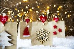 Panier de Noël, flocons de neige Photo stock