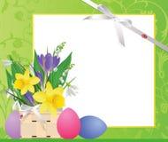 Panier de Pâques avec des fleurs et des oeufs. illustration libre de droits