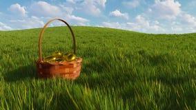 Panier de Pâques avec des oeufs parmi le plan rapproché d'herbe verte illustration libre de droits
