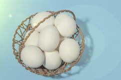 Panier de Pâques avec les oeufs blancs Photos stock