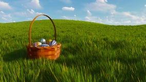 Panier de Pâques avec les oeufs colorés parmi l'herbe verte illustration libre de droits