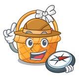 Panier de Pâques d'explorateur miniature la mascotte de forme illustration stock
